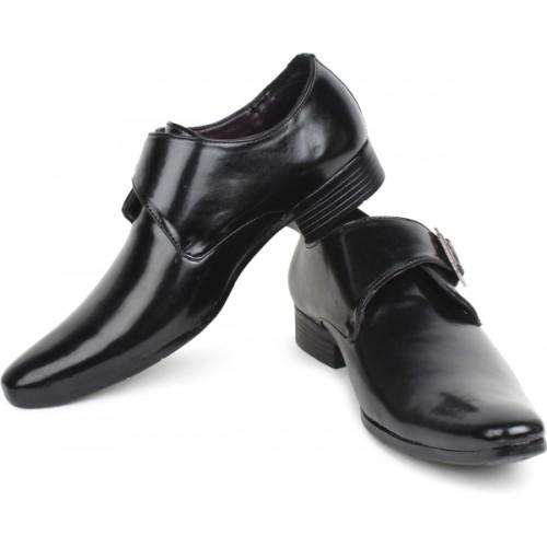 BUWCH Men Formal Black Monk Shoe Party Wear For Men