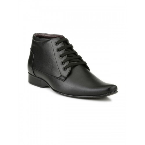 ... Mactree Men Black Leather Mid-Top Formal Shoes ...