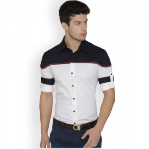 Dazzio Men White & Navy Blue Modern Slim Fit Printed Casual Shirt