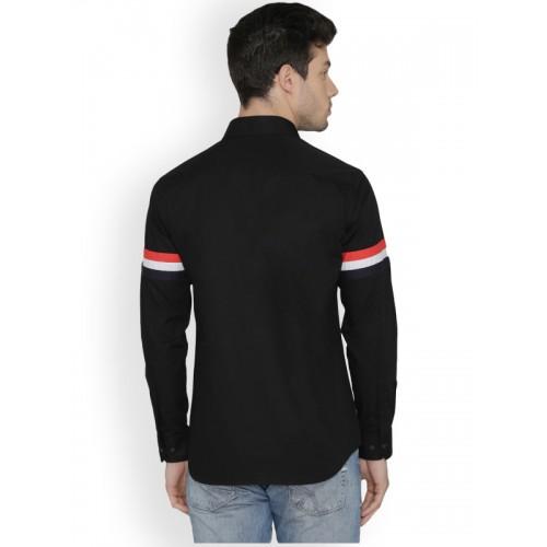 Dazzio Black & Red Slim Fit Solid Partywear Shirt