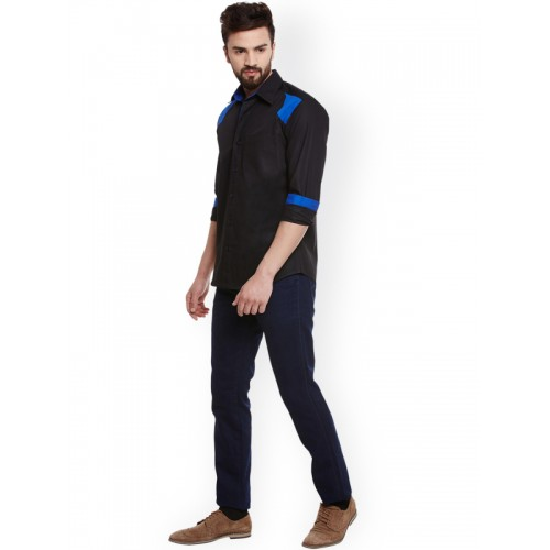 Dazzio Black & Blue Smart Slim Fit Solid Fo Shirt