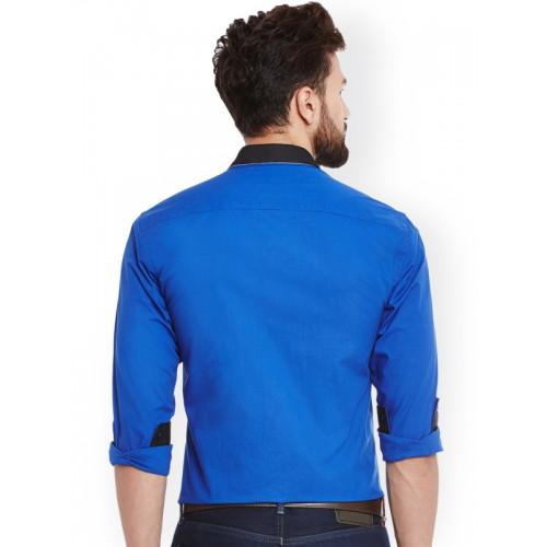 Dazzio Blue Smart Slim Fit Solid Formal Shirt