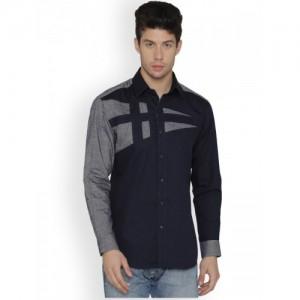 Dazzio Men Navy Blue & Grey Modern Slim Fit Solid Casual Shirt