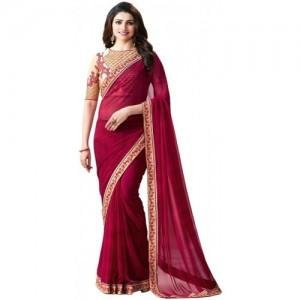 PURVAJA Plain Bollywood Heavy Georgette Saree