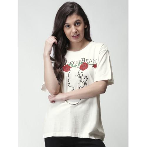 651b517b ... FOREVER 21 Women White Printed Round Neck Longline T-shirt ...