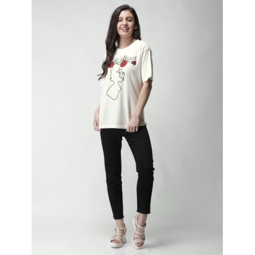 70fc3de6 Buy FOREVER 21 Women White Printed Round Neck Longline T-shirt ...