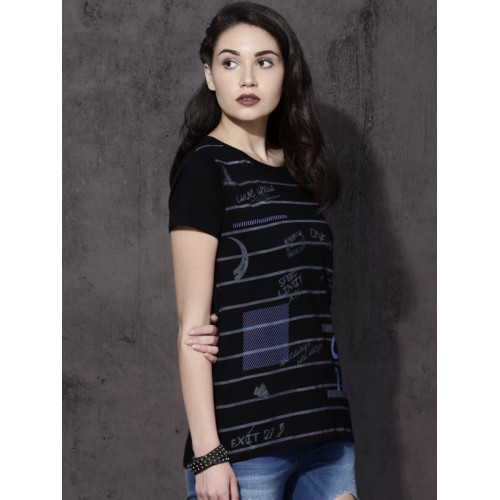 Roadster Women Black Striped Round Neck T-shirt