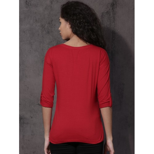 Roadster Women Red Printed Round Neck T-shirt