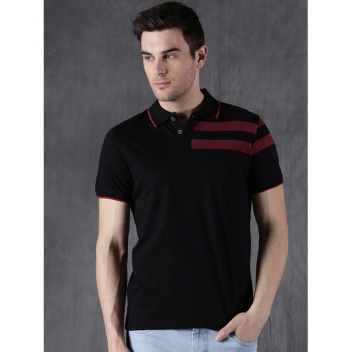 WROGN Men Black Solid Polo Collar T-shirt