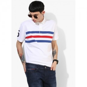 Tommy Hilfiger White Striped Regular Fit Polo T-Shirt