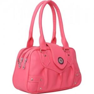 FD Fashion Pink Leather Solid Shoulder Bag