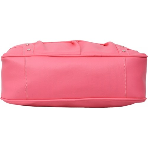 FD Fashion Pink Leather Solid Shoulder Bag