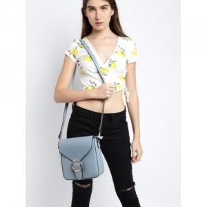 DressBerry Blue Polyurethane Solid Sling Bag
