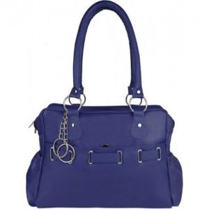 SAHAL Blue PU Solid Hand-held Bag