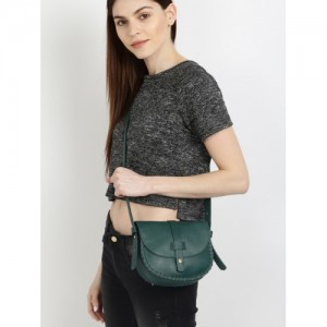 DressBerry Green Syntheic Solid Sling Bag