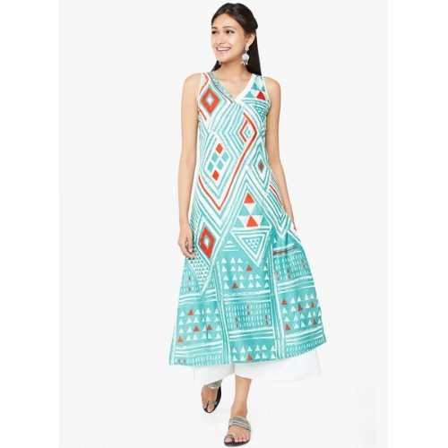 Global Desi Sea Green Printed Straight Kurta
