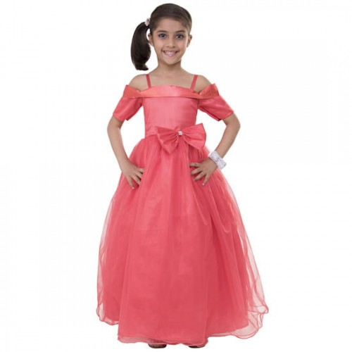 Samsara Couture Coral Solid Party Ball Gown