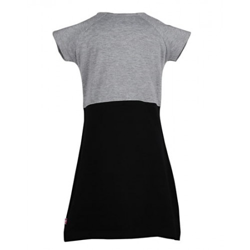 Lil Orchids Girls Gray & Black Short Sleeve Yoke Dress