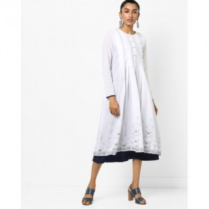 Global Desi White White Box Pleat Overlay Kurta