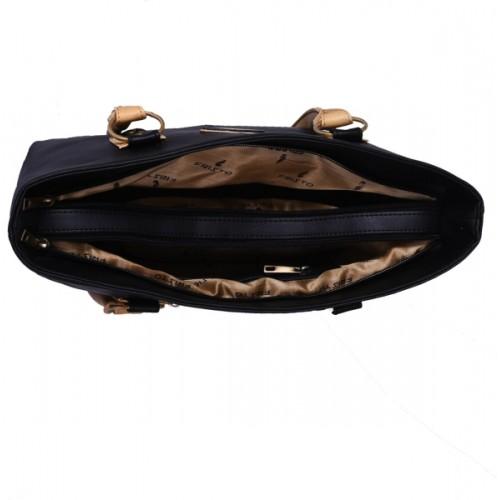 Fristo Black PU Solid Shoulder Bag
