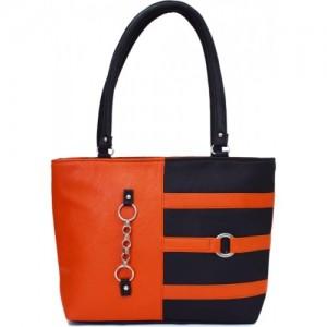SPLICE Orange & Navy Blue PU Solid Hand-held Bag