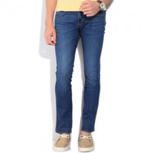 Wrangler Blue Cotton Spandex Slim Men's Jeans