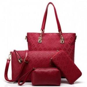 lacira Red Polyurethane Solid Combo Bag