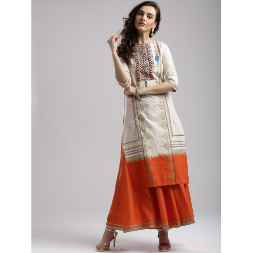 W Off-White & Orange Printed Straight Kurta