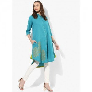 Sangria Turquoise Cotton Block Printed Hi Low A-Line Kurta