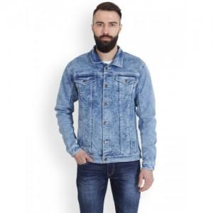 LaMODE Men Blue Solid Denim Jacket