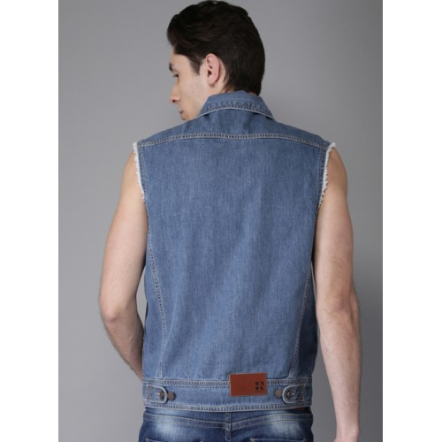 HERE&NOW Blue Solid Denim Jacket