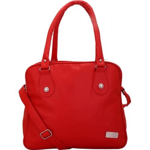 Balaji Red PU Solid Shoulder Bag