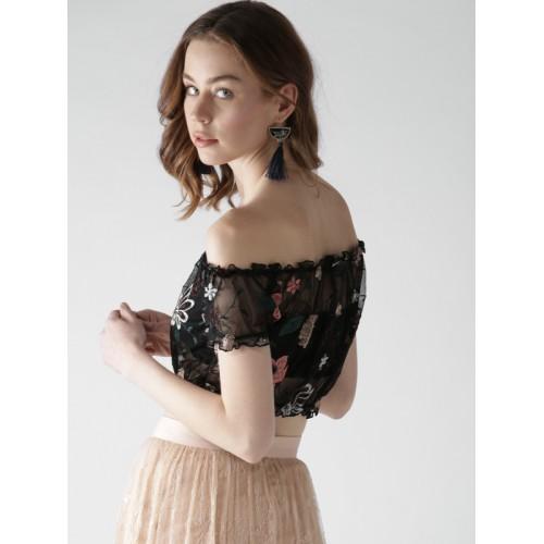 74d64337a67d2 Buy FOREVER 21 Women Black Sheer Embroidered Crop Bardot Top online ...