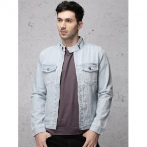 Ecko Unltd Men Light Blue Solid Denim Jacket