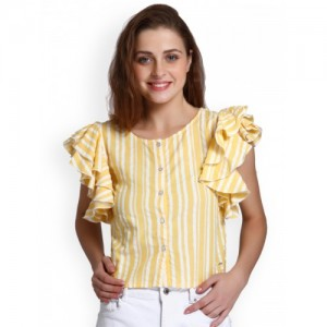 ONLY Women Yellow Striped Shirt Style Top