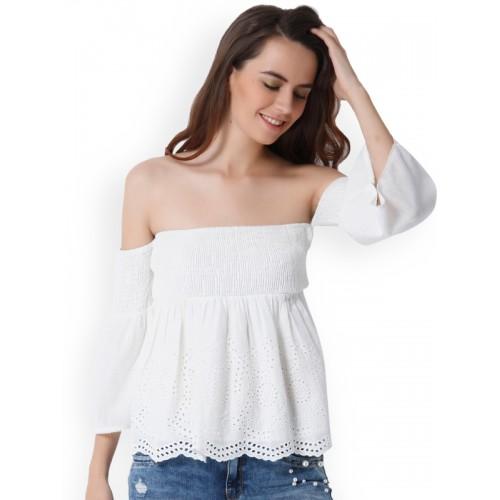 c788849f56dd5 Buy ONLY Women White Self-Design Bardot Top online