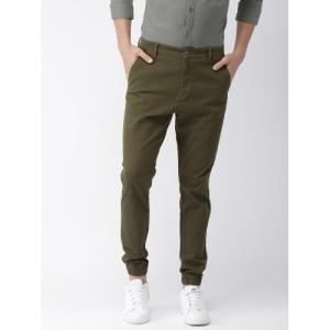 HIGHLANDER Brown Cotton Slim Fit Solid Joggers