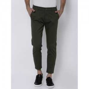 HIGHLANDER Olive Green Tapered Fit Solid Chinos