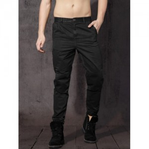 RDSTR Black Regular Fit Solid Joggers