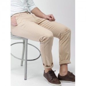 Highlander Beige Cotton Casual Trousers