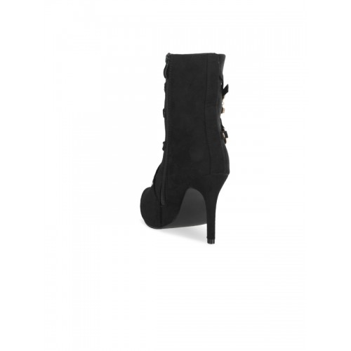 SHUZ TOUCH Black Solid Heeled Women Boots
