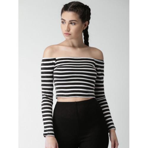 29d4d5af997 ... Bardot Top  FOREVER 21 Women Black   White Striped Bardot ...