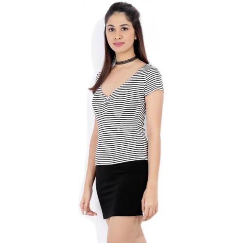 5f0f2b76fb7 Buy Forever 21 Casual Short Sleeve Striped Women Black