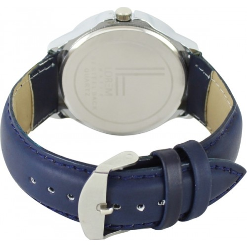 LOREM Day&Date Blue Leather Stylish Attractive Watch  - For Men