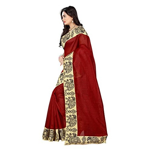 Saree with Printed Border baglapuri Cotton Lace work Saree for women / Girls ( Free Size , Red ) by Aaradhya Fashion