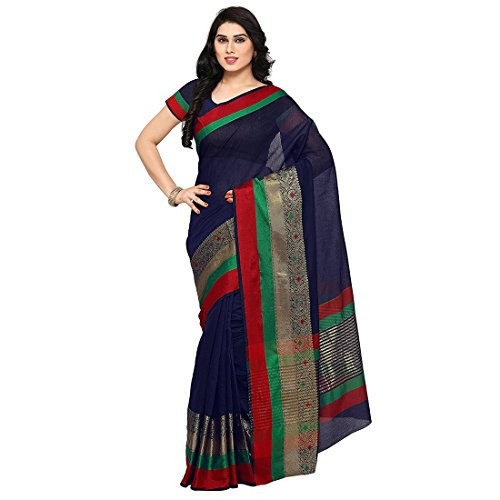e8f9da5d9b ... Craftsvilla Women's Cotton Jacquard Border Blue Saree with Unstitched  Blouse piece ...