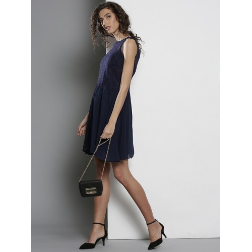 477c67e8b5a Buy DOROTHY PERKINS Women Navy Blue Lace Fit & Flare Dress online ...