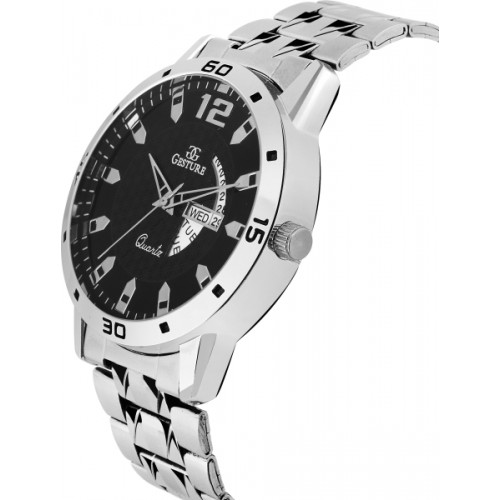 Gesture 1206- Black Day And Date Chain Watch  - For Men