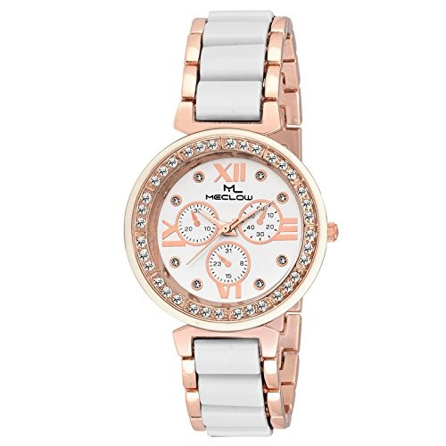 MECLOW Analogue Black and White Dial Watch for Women