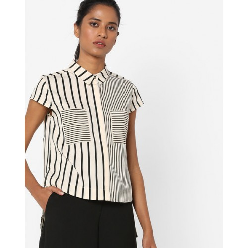 95cbe9bb7cc50 Buy AJIO White   Black Cotton Striped High-Low Shirt online ...